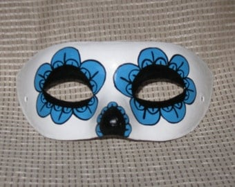 Hand painted paper mache Dias de los Muertos calavera domino style mask