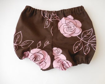 Brown with pink roses baby infant toddler diaper covers bloomers