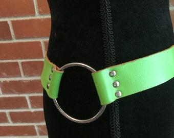 Vintage lime green belt with metal loops