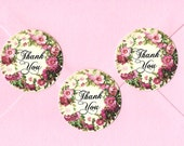 Stickers, Flower Wreath, Thank you,  Cottage Style, Sticker Seals, Thank You Stickers
