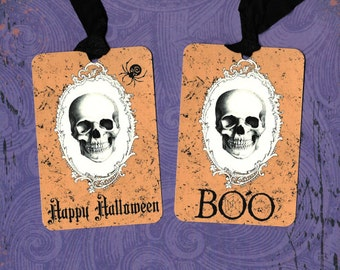 Halloween, Skull, Happy Halloween, BOO, Eerie Tags, Party Favors