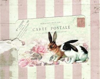 Tags, Rabbit, Gift Tags, Roses Tags, Spring Tags, Rabbits, Party Favors