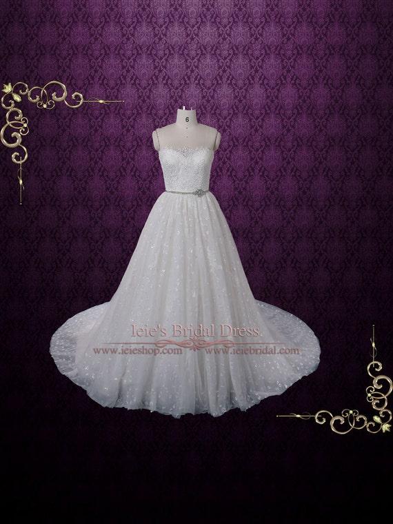 French Alencon Lace Ball Gown Wedding Dress Princess Ball