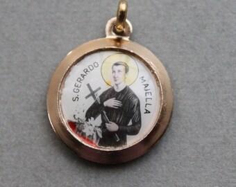 Saint Gerard Relic Medal / Catholic Religious Reliquary Pendant