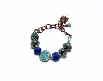 Beach Bracelet, Ocean Starfish, Shades of Blue, Sea Turtle,  Art Bead Bracelet