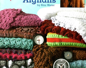 Crochet 48 Hour Afghans Chunky Stadium Blanket Popcorn Shells Clusters Zebra Stripes Color Stripes Craft Pattern Leaflet Leisure Arts 3694