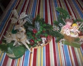 Lot os 3 Vintage Gaudy Ugly Christmas Arrangements for Vintage Supply Pieces
