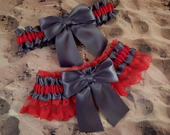 Gray grey Satin Red Lace Wedding Bridal Garter Toss Set