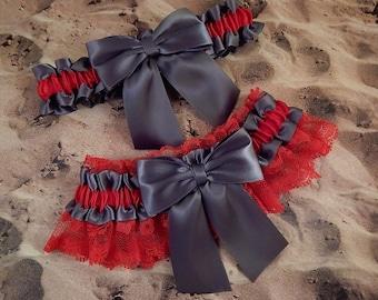 Gray grey Satin Red Lace Wedding Bridal Garter Toss Set