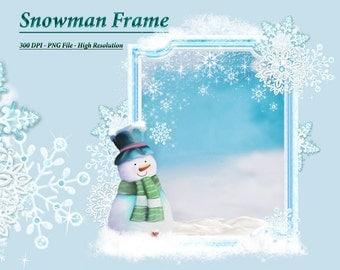 SnowMan Clipart, Winter Clipart, Frosty Snowman Frame
