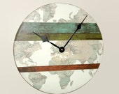 SILENT World Wall Clock - Globe Wall Clock - Map Wall Decor - Unique Wall Clock - Man Cave Clock - Gift for Him - (NOT Real Wood) 2146