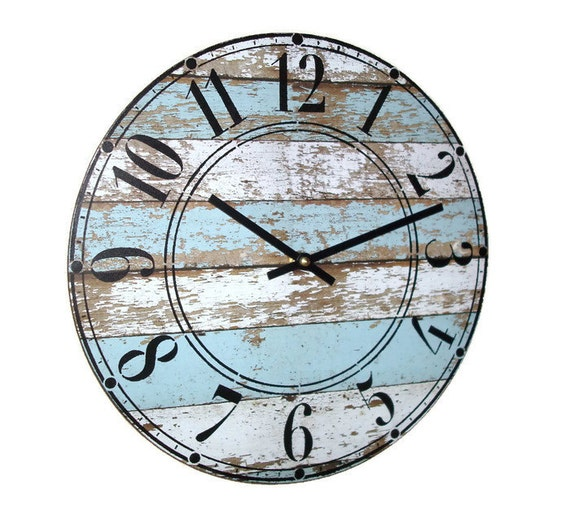 12 SILENT Pale Blue and White Wall Clock on Vinyl