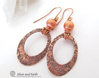 Hoop Earrings, Copper Hoop Earrings, Handmade Copper Jewelry, Contemporary Modern Earrings, Hammered Earrings, 7th Copper Anniversary Gift