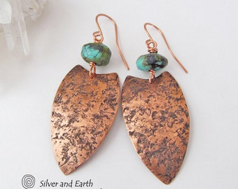 Tribal Shield Earrings, African Earrings, Copper & Turquoise Earrings, Rustic Ethnic Tribal Jewelry, Handmade Artisan Metalsmith Earrings