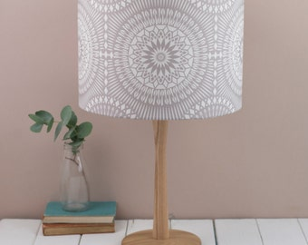 Nickel Grey Lampshade, geometric pattern based on the moors and mid century modern playing cards design, ceiling shade, pendant fitting