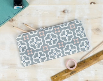 Ines Pencil Case, grey geometric design, blue, pink and white pattern, handy pouch for your pens