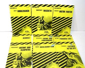 Vintage Cliffs Notes Book Collection Nine Books