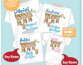 Sibling Monkey Set of Four, Biggest Brother, Bigger Brother, Big Brother, and Little Sister, Personalized Shirt or Onesie (11062015d)