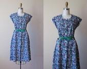 1940s Dress - Vintage 40s French Dress - Cobalt Blue Floral Print Cotton House Dress w Pockets L - Daisy Daisy Dress