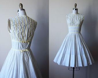 R E S E R V E D 50s Dress - Vintage 1950s Dress - White Grey Sunny Yellow Bust Shelf Sundress w Rear Bows S - Good Day Sunshine Dress