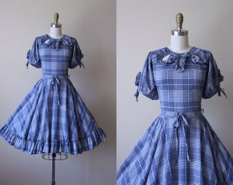 60s Dress - Vintage 1960s Dress - Navy Blue Dotted Swiss Plaid Circle Skirt Western Dress w Openwork M L - Country Ride Sundress