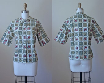 1950s Top - 50s Vintage Blouse - Novelty Print Cotton Deadstock Horse Lamb Shirt M - Pastorale Top
