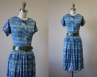 50s Dress - Vintage 1950s Novelty Dress - Blue Olive Scandinavian Print Jersey Full Skirt Dress S - The Little Friend Dress