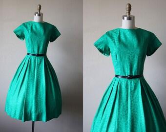 50s Dress - Vintage 1950s Party Dress - Emerald Green Brocade Full Skirt Dress M - Lucky Girl Dress