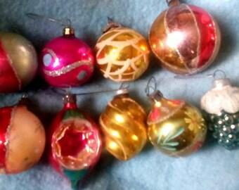 8 Vintage Mercury Glass Christmas Ornaments- Grapes