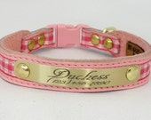 Cat Collar Personalized five eighths inch (15.875mm) width Pink checker/Pink/Pink Cute Cat Collar w/ Breakaway Buckle by Ruggit