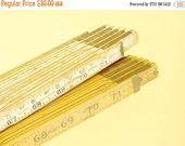 Folding rulers, vintage expanding rulers, two folding yardsticks, wood with brass slide & worn white, carpentry tool, photo display