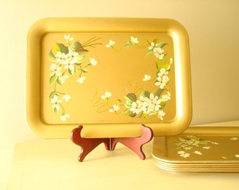 Gold serving tray, green & cream flowers, Pilgrim Art tole tray, hand-painted Hollywood glamour, classic mid-century home decor