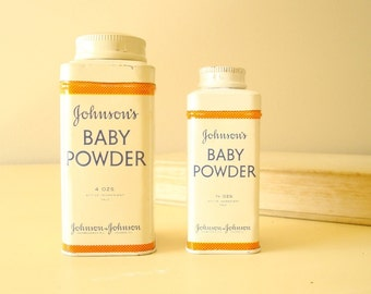 Vintage Johnson's Baby Powder tins, two 1950s cans, baby diapering, baby care, healthy baby, film prop