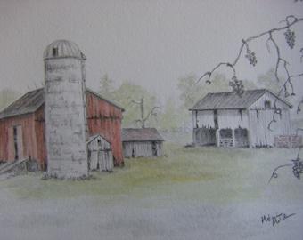Old barns rustic farm Ohio landscape rural country art original watercolor and graphite pencil drawing affordable art m3 DrawingsPlus