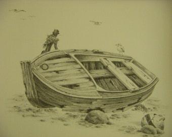 Nautical seascape boat old wooden boat gulls birds buoy rustic rocks graphite pencil m3DrawingsPlus  original drawing