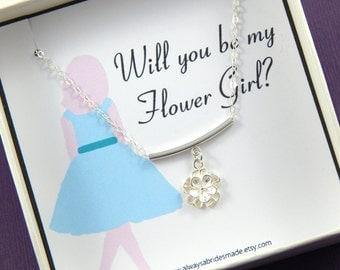 Flower Girl Gift, Will you be my Flower Girl Necklace - Gift Boxed Flower Girl Necklace, Junior Bridesmaid Gift