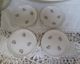 Butter Pats Pink Floral China Pink Roses Serving Victorian Tableware Tiny Plates Trinket Dish Mother's Day Gift