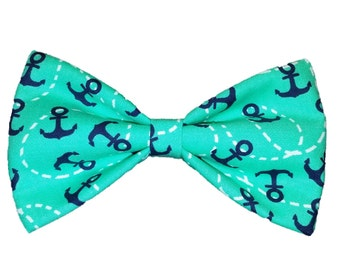 Mint Anchors Bow Tie - Nautical Cat Bow Tie - Dog Bowtie - Girls Hair Clip Accessory