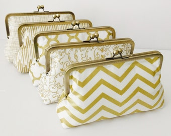 Bridesmaid Gift, Clutch Purse, Gold and white Wedding Clutches, Accessory, Formal clutch