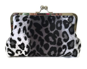 Leopard Clutch Purse, animal print clutch, bridesmaid clutch purse, black and white two toned clutch, faux fur clutch