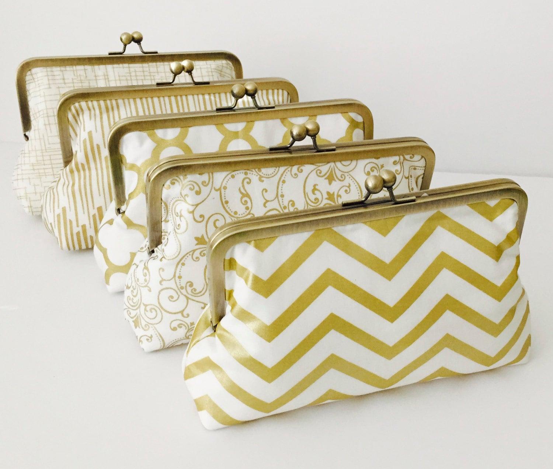 1960s Metallic Gold Evening Bag Clutch Purse  Formal Gold Clutches