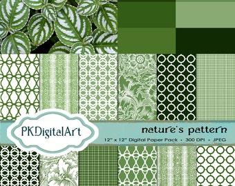 Tropical Leaves from Atlanta Botanical Garden Digital Scrapbook paper; linen backgrounds and textures