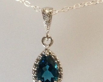 London Blue and Diamond Sterling Silver Necklace