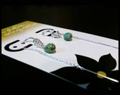 Sterling Threader Earrings with Dainty Turquoise Luster Czech Glass Drops, FREE FIRST CLASS shipping, Ready to Ship, teen, Threaders, silver