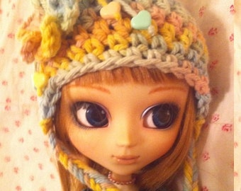 Hearts & Flowers Mori Girl Crochet Cap for Pullip