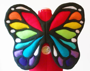 Butterfly Rainbow Wings. Black Base, No Wire. Bright Fairy. Two sizes. Original design.