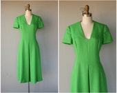 Vintage 1960s Gress | 1960s Mollie Parnis Dress | Vintage 1960s Day Dress | Vintage 60s Dress | Vintage Green Linen Dress