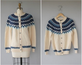 Vintage Blue Nordic Cardigan | Vintage Wool Cardigan | Fair Isle Sweater | 60s Wool Cardigan | Made In Norway