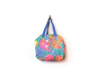 BTS SALE Vintage 80s Colorful Neon FLOWER Bomb Denim Boho Chic Duffel Bag