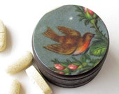 Robin Pill Box - Robin Vitamin Box - Bird Wooden Small Jewlery Box - Woodland Wedding Rings Box